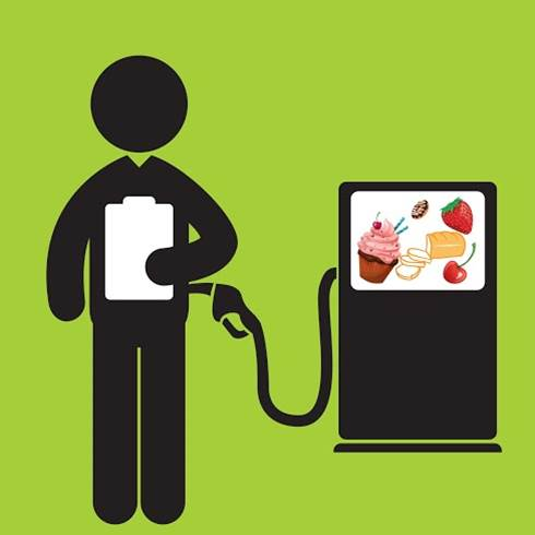Illustration of man refueling with food from petrol pump